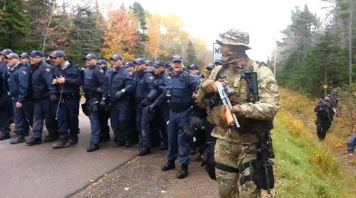 Might is not Right. RCMP and US Forces attack Mi'kmaq on behalf of multinational energy corporations.