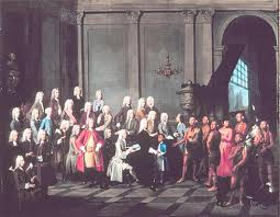 1710 Iroquois explain Great Peace in Queen Anne's Court, London.