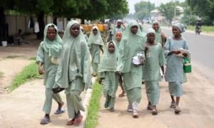 Nigerian girls on their way to school.