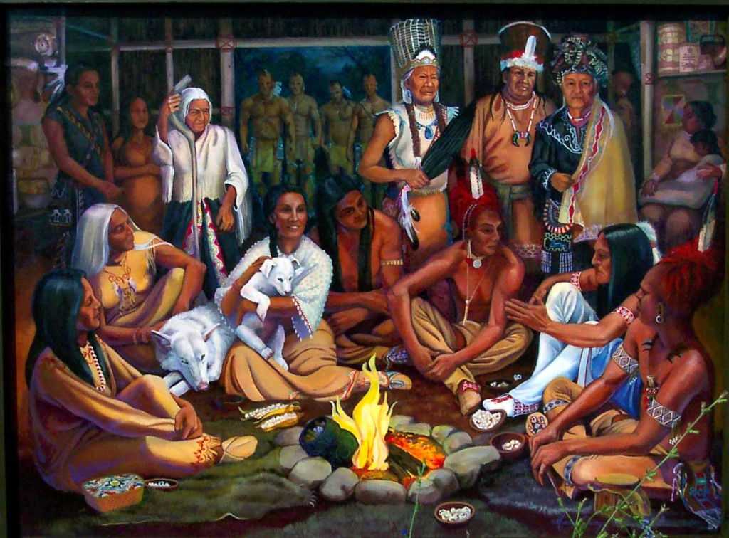 Jikohnsseh, Mother of Nations, listens to people setting up their Women, Mens and Peoples Councils.