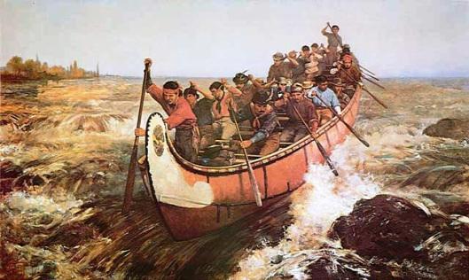 The courier du bois shoot Lachine Rapids by Kahnawake.