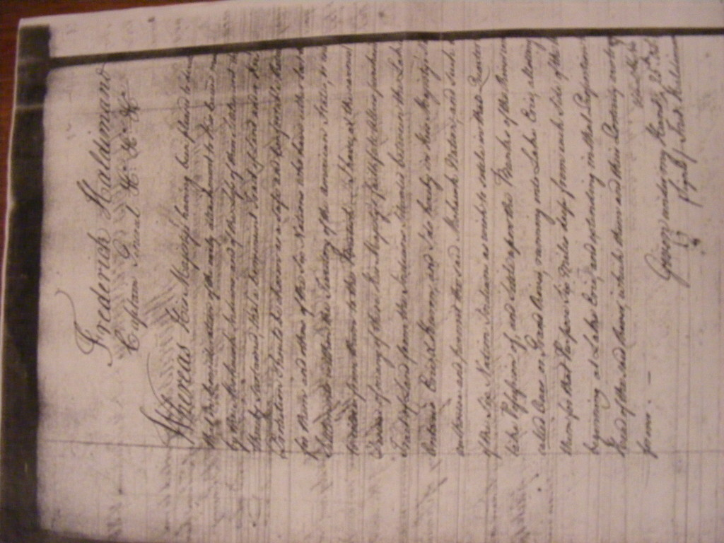 Halidmand Proclamation 1784 making Kanekotah the only UK military protectorate for the Mohawks in the world.