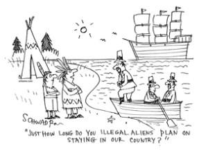 pilgrims arriving