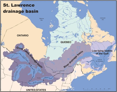 Great Lakes-St. Lawrence River drainage basin.