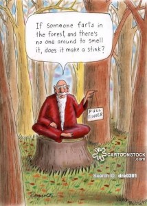 'If someone farts in the forest and there's no one around to smell it, does it make a stink?'
